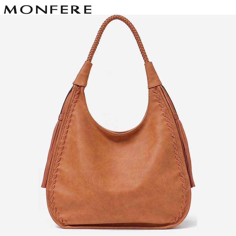 MONFERE Brand Hobo Bag Women Handbags Shoulder Large Female