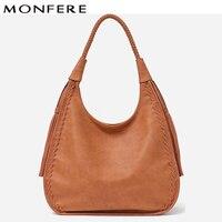 MONFERE Brand Hobo Bag Women Handbags Shoulder Large Female Faux Leather Tassel Big Totes Ladies High Quality Top handle Bag New