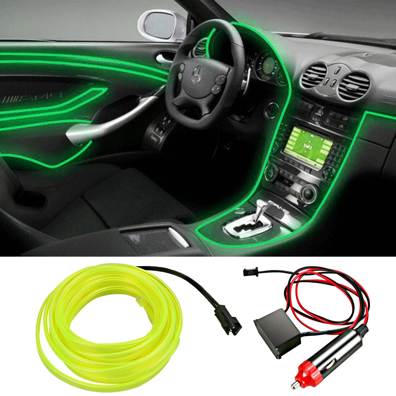 Wire Cold Light Lamp Car Atmosphere Decor Lights Cigarette