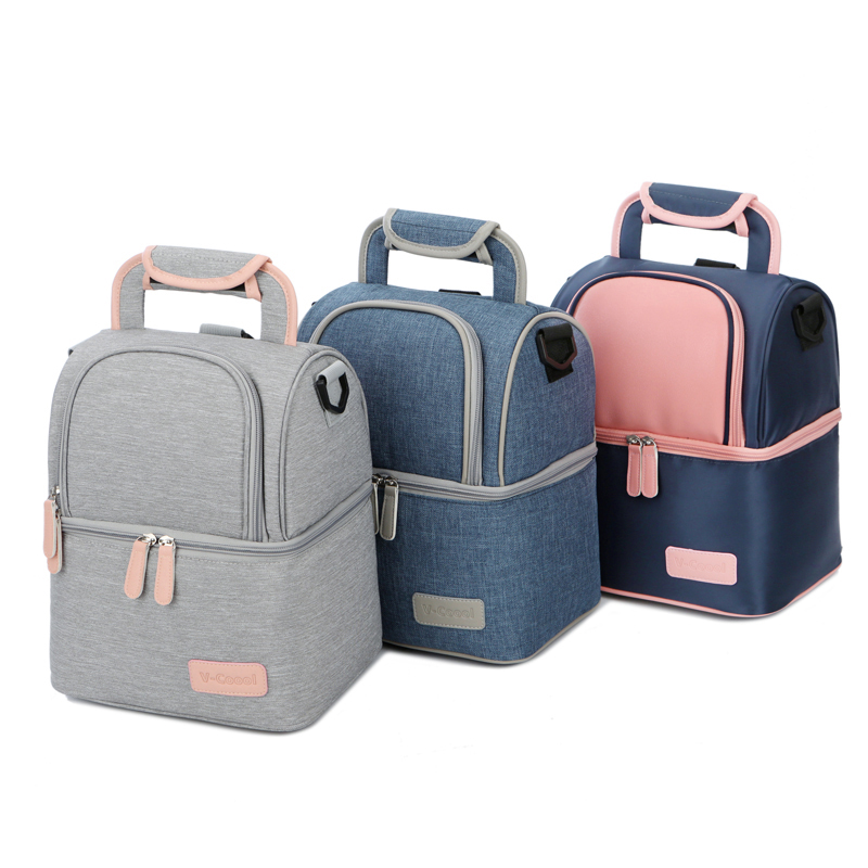 Double Layer Fashion Portable Lunch Bag Food Cooler Picnic Bags for Women Thermal Lunch Box Kids Milk Bag 3 Colors