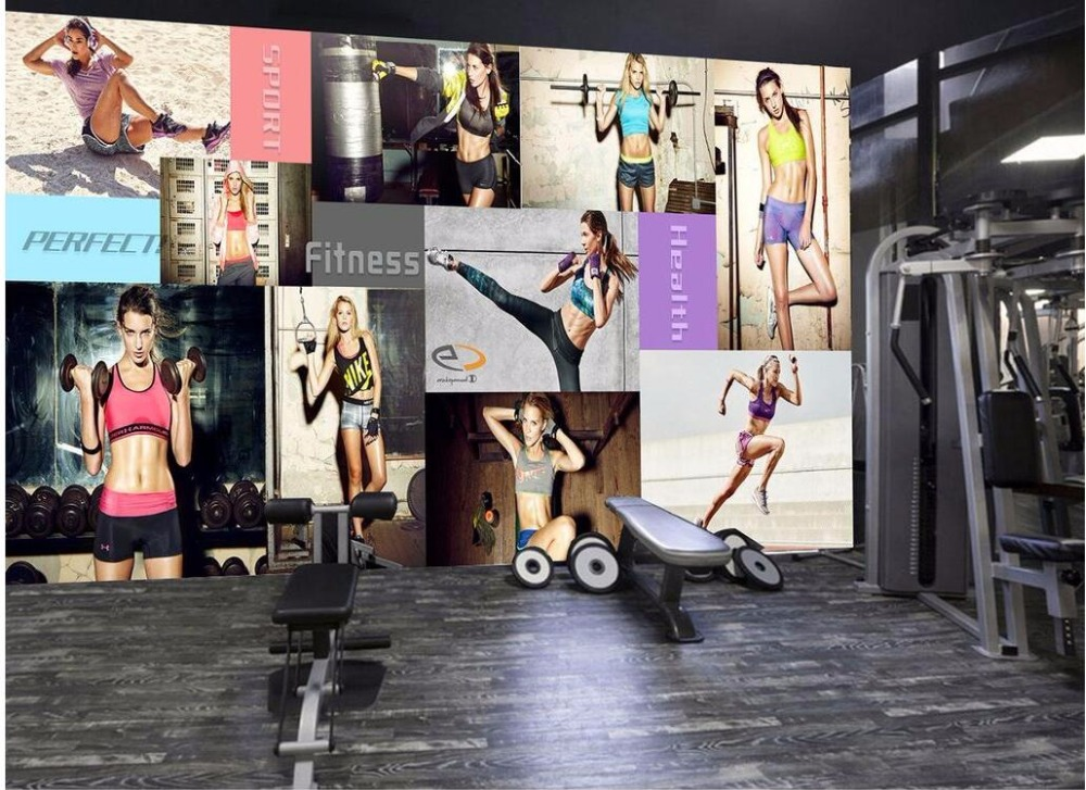 Custom photo 3d wallpaper Gym yoga gym sexy beauty photo wall background wall room painting picture 3d wall murals wallpaper custom 3d photo wallpaper murals hd cartoon mushroom room children s bedroom background wall decoration painting wall paper