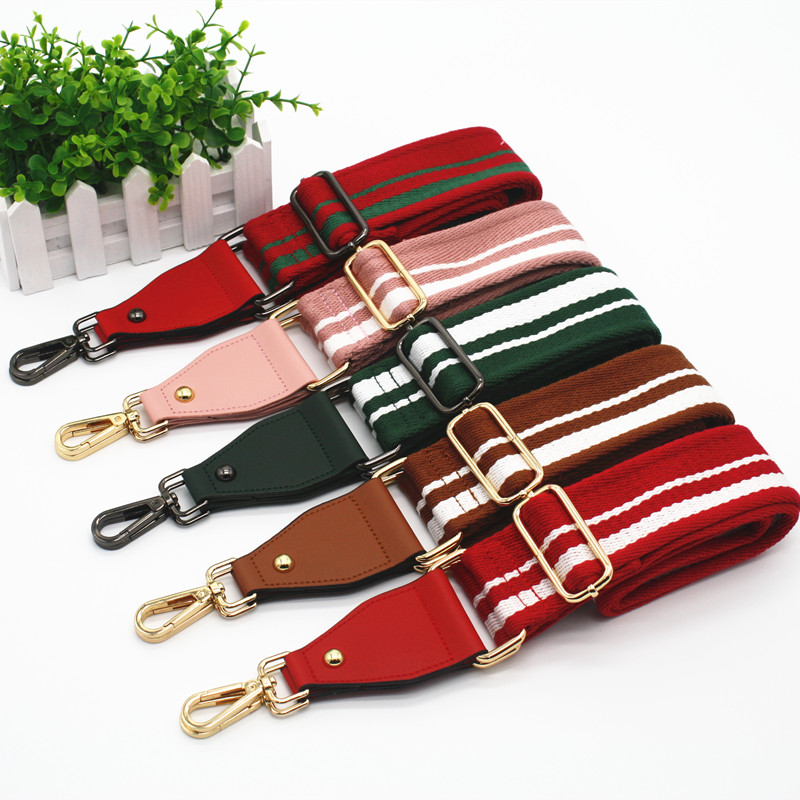 New Handbags Strap Striped Canvas 5cm Wide Straps For Crossbody Shoulder Bag Handles Straps Replacement DIY Accessories KZ151333