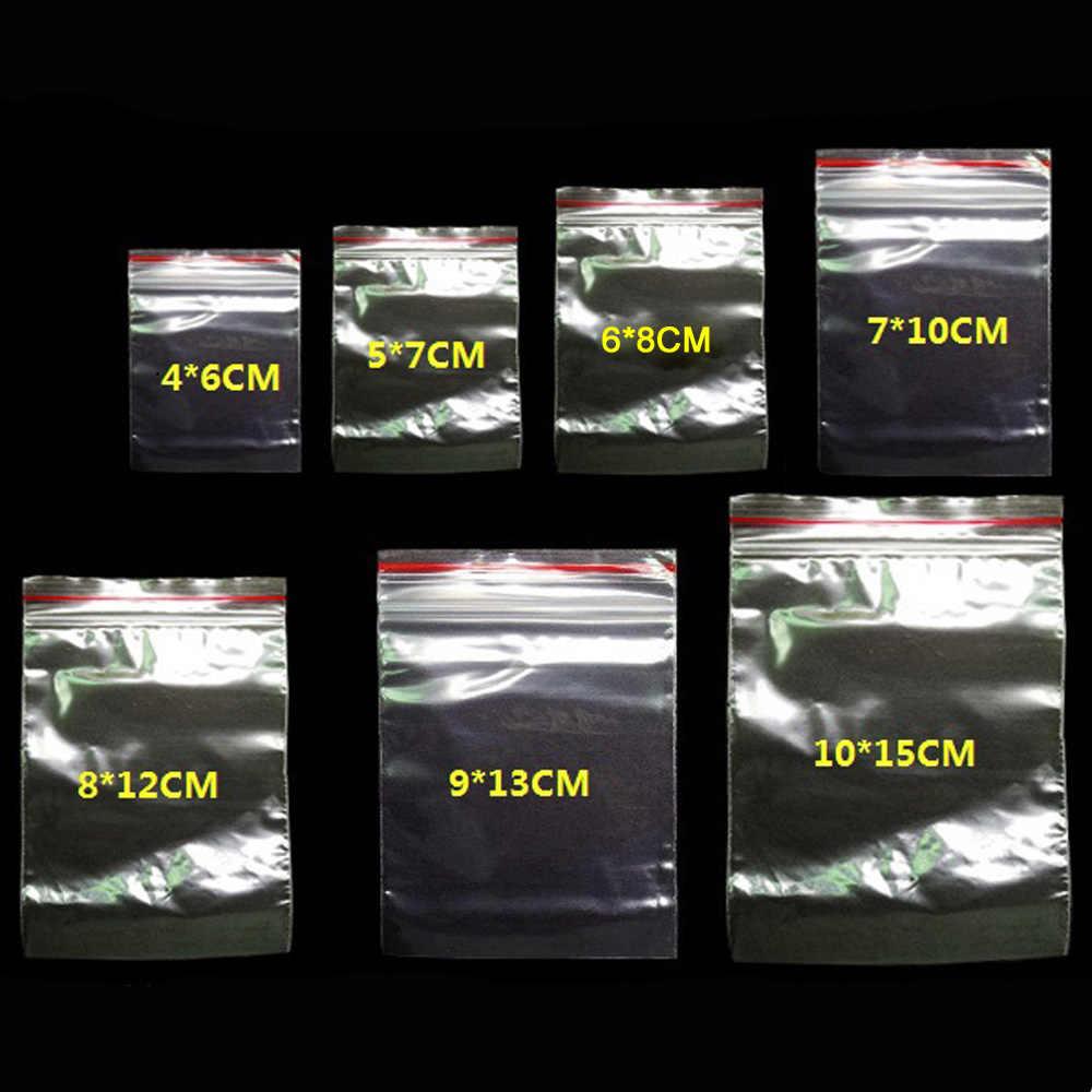 100 adet/paket Küçük Zip Kilit plastik poşetler Yeniden Kapatılabilir şeffaf çanta ayakkabı çantası Vakum saklama çantası Gıda saklama çantası Poli şeffaf plastik çantalar