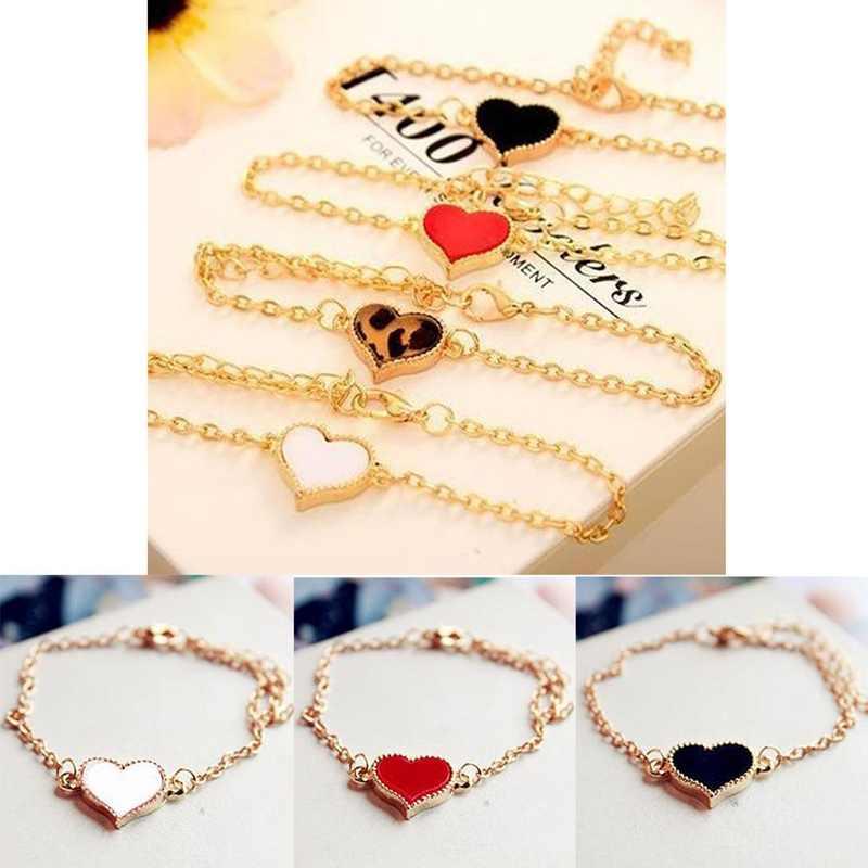 לב אהבה אדומה אופנה מתכת זהב צבע צמידים לנשים צמידים & צמידי תכשיטי חתונה מסיבת מתנה הטובה ביותר Freeshipping