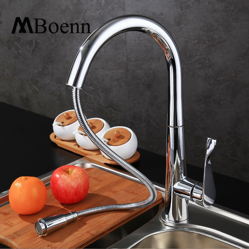 New Design Pull Out Kitchen Faucet 360 Rotating Chrome kitchen Sink Mixer Tap Brass Faucets Hot Cold With G1/2 Pipe kitchen chrome plated brass faucet single handle pull out pull down sink mixer hot and cold tap modern design