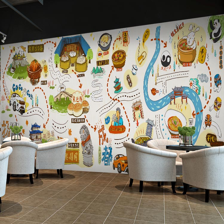 Custom photo wallpaper city food map large mural for Cafe mural wallpaper