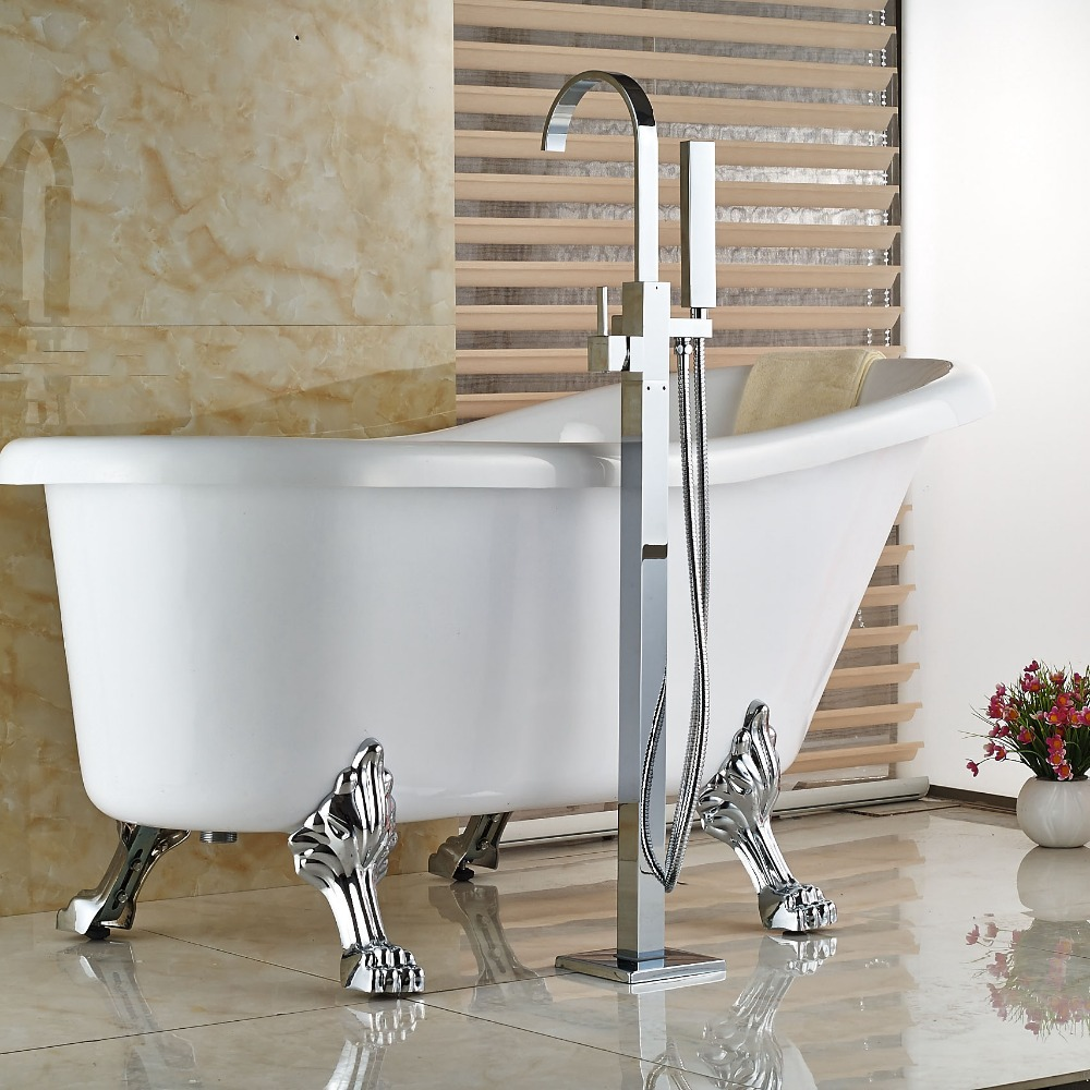 Floor Standing Tub Faucet Chorme Polish Single Handle Bathroom W ...