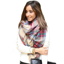 Shocking Show Hot Wool Blend Blanket Oversized Tartan Scarf Wrap Shawl Plaid Checked Pashmina