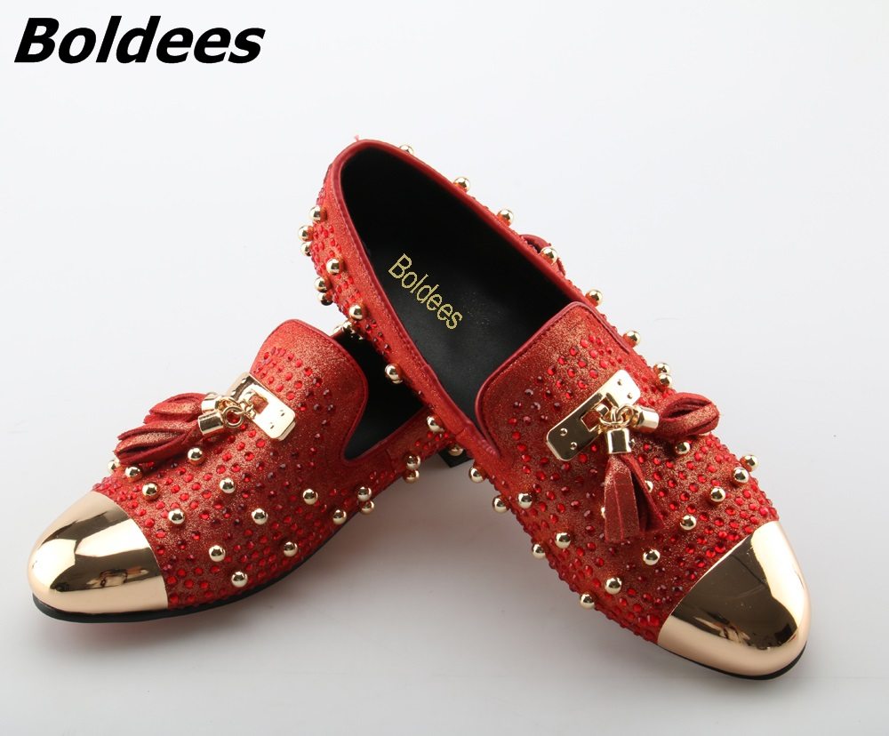 Boldees Trendy Tassel Rivets Party Shoes Men Luxury Brand Design Casual Shoes Mens Loafers Red Crystal Italian Men Shoes Hottest trendy embossing and solid color design loafers for men