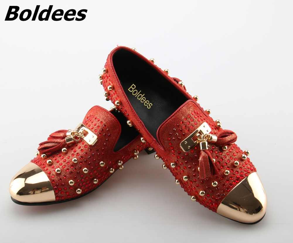 97bfe0767a0 Boldees Trendy Tassel Rivets Party Shoes Men Luxury Brand Design Casual  Shoes Mens Loafers Red Crystal Italian Men Shoes Hottest