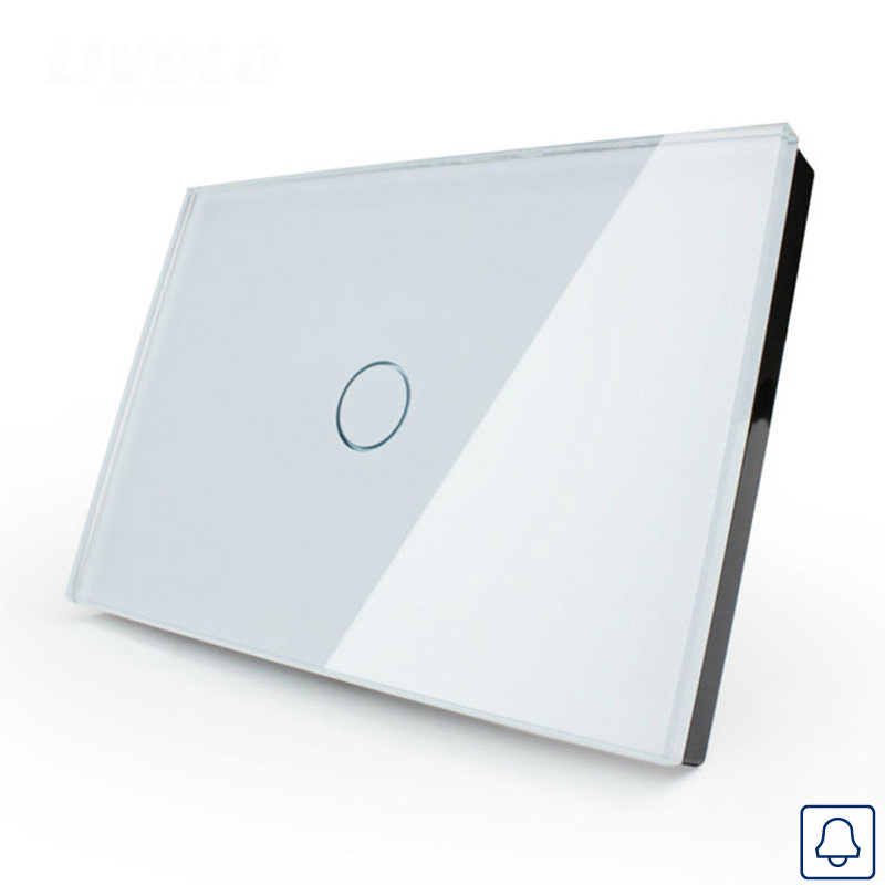Cnskou Smart home Touch Switch, US Doorbell Switch AC110~250V, Crystal Glass Panel, LED indicator,Touch Switch smart home wall touch switch white crystal glass panel 1gang1way 110 250v led indicator us light led touch screen switch