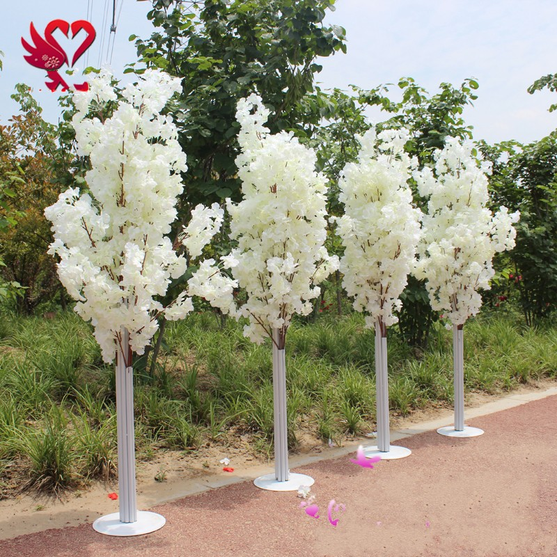 1.5M Tall white Artificial Cherry Blossom Tree Roman Column Road Leads For Wedding Mall Opened Props