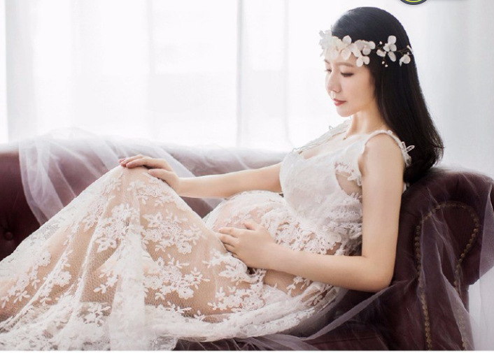 2018 new sexy long lace maternity photography dress Maxi dress strap photography Dress Korean style maternity dress summer