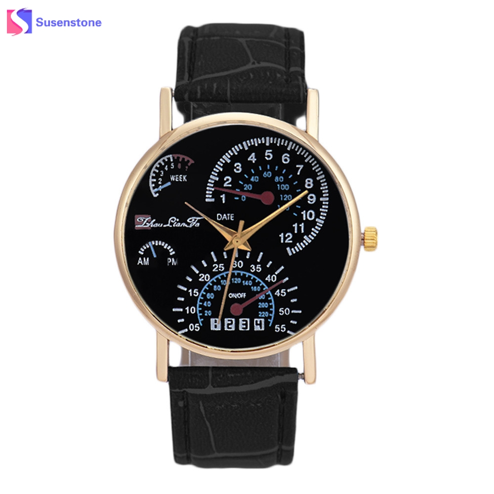 Mens Watches Top Brand Luxury Analog Quartz Wrist Watch Leath