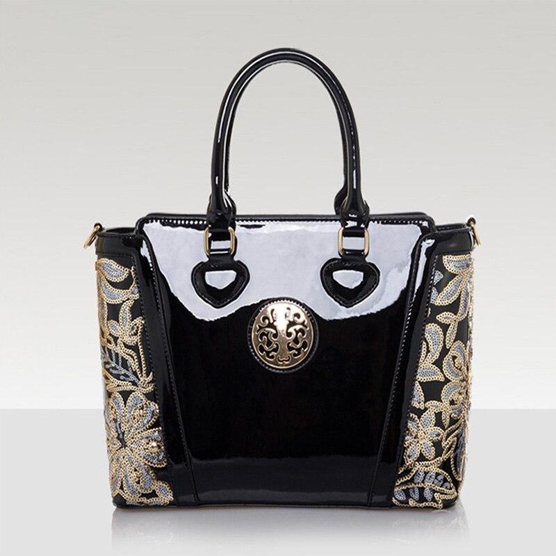 2016 Women s Bag Ladies Luxury Patent Leather Shoulder Bag Flower Printing Black Crossbody Female Clutch