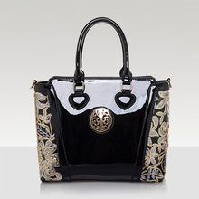 2016 Women's Bag Ladies Luxury Patent Leather Shoulder Bag Flower Printing Black Crossbody Female Clutch Handbag Sac A Main S038