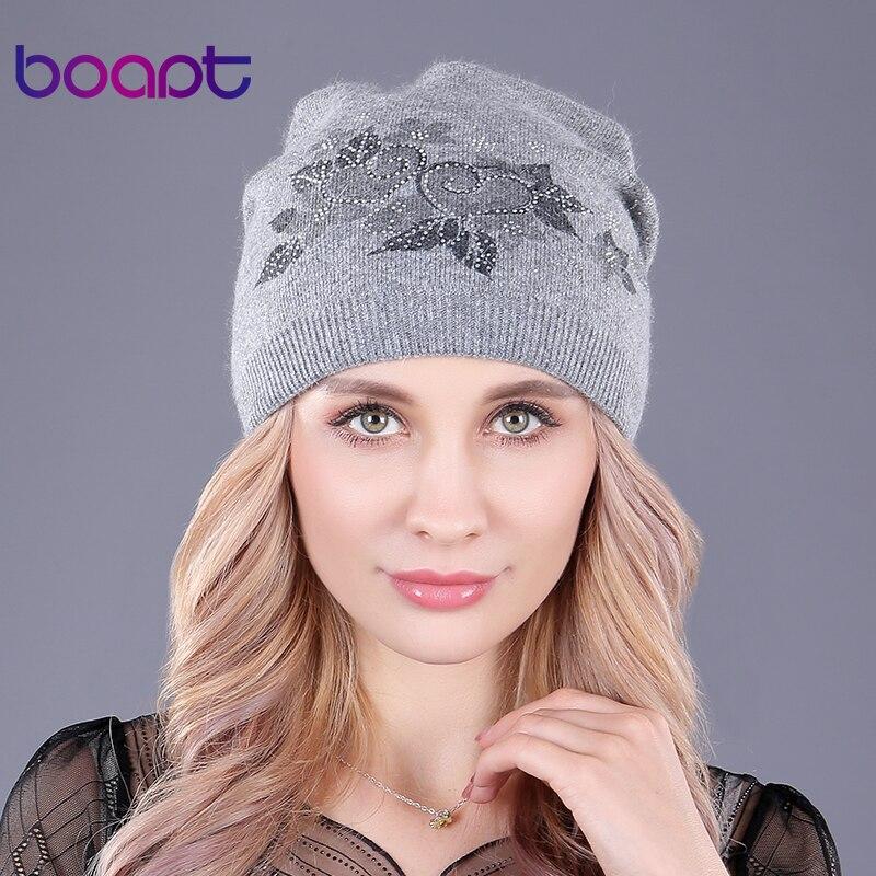 Boapt] prevenir frío grueso invierno mujer caps de punto de lana ...