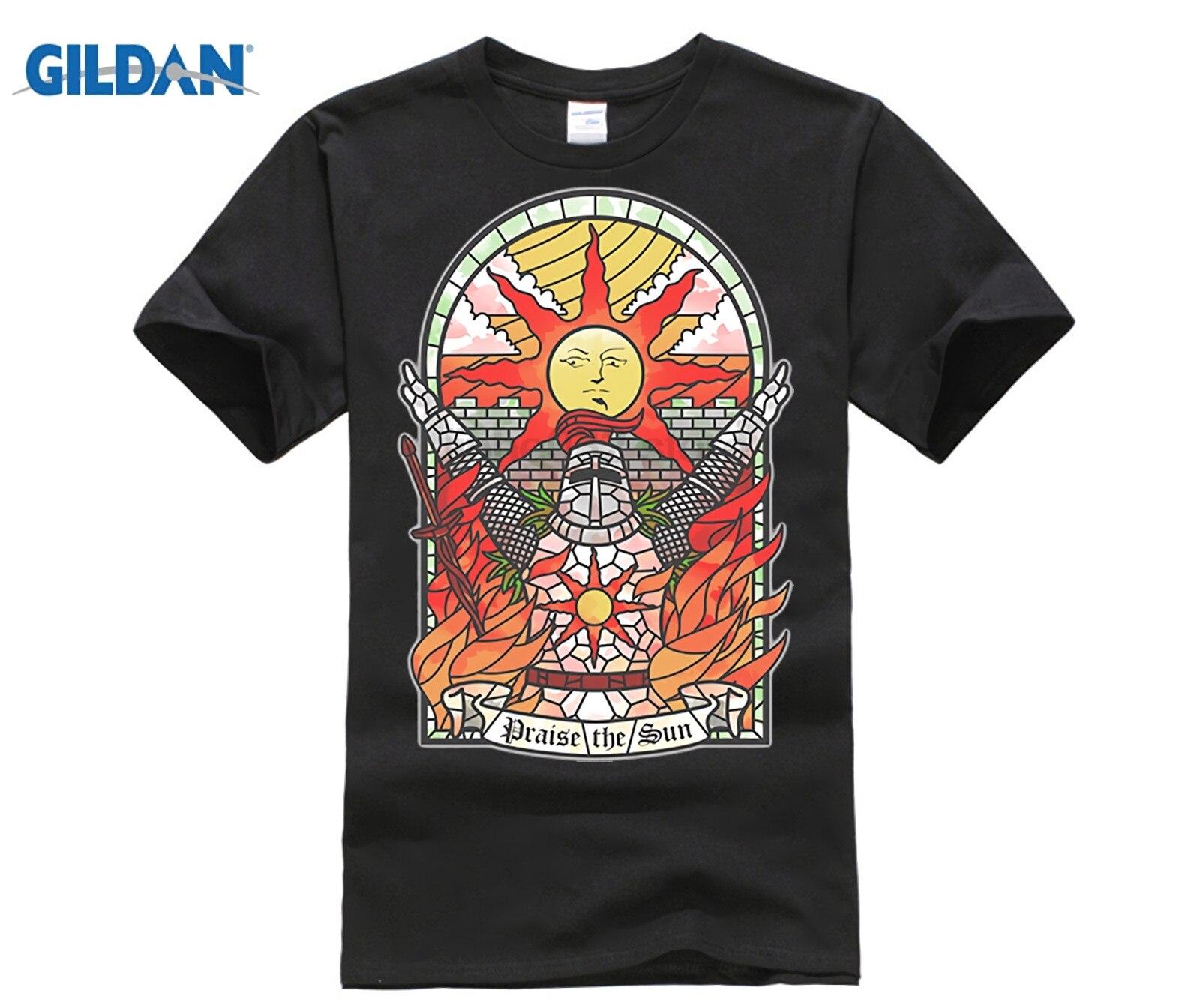SPEG Dark Souls 3 Church Of The Sun T-Shirt Praise The Sun Youth Round Neck Tees Cotton New Men's T Shirt Fashion