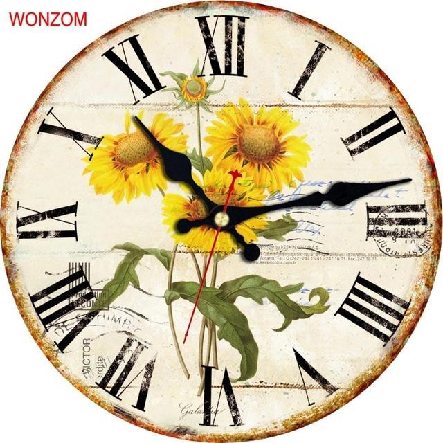 WONZOM Sunflower Wall Clock Modern Design Roman numerals Silent ...