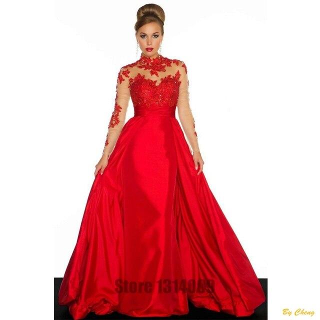 c52e356c44 Cuello alto Vestido De Festa De Casamento Vestidos Formales De Manga Larga  Backless Plisado Fajas de