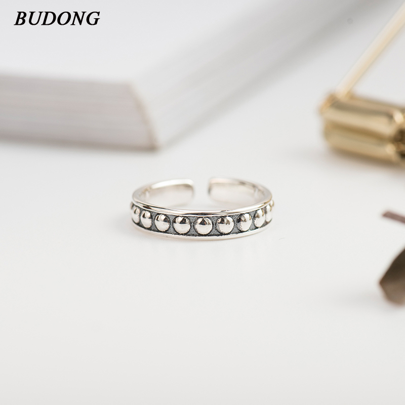 BUDONG Valentine's Day Deals 925 Sterling Silver Droplets Stackable Finger Classic Ring for Women Wedding Fine Jewelry XURT049 image
