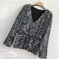 Colors Ruffles Sequined Beading Women Luxury Fashion V neck Batwing Sleeve Pullovers Blouse Top