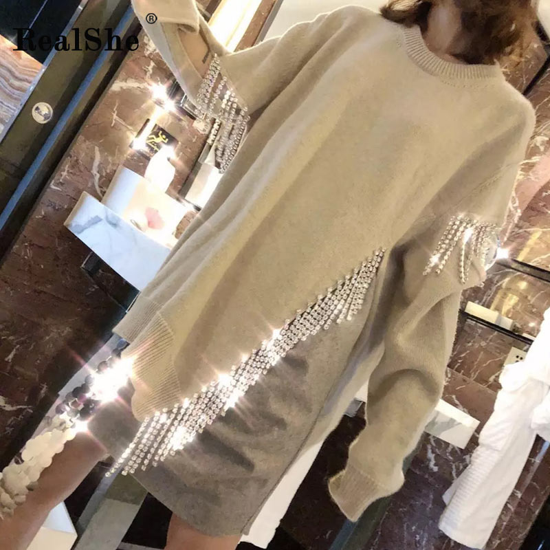 RealShe 2019 Autumn Winter O Neck Women Sweater Asymmetrical Knitted Femme Pullover Tassel Female Two Side
