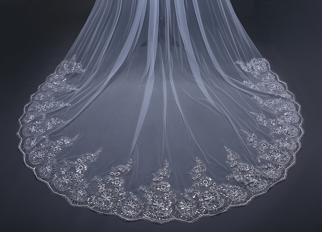 3 Meter White Ivory Cathedral Wedding Veils with Comb