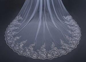 Image 4 - Velo de novia con borde de encaje, velo de novia con borde de encaje blanco marfil de 3 metros, accesorios de boda