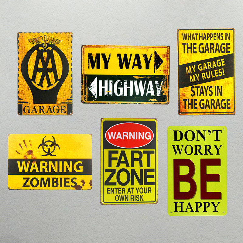 DL-Garage my way be happy Tin Sign cafe shop bar wall plaque gift art poster