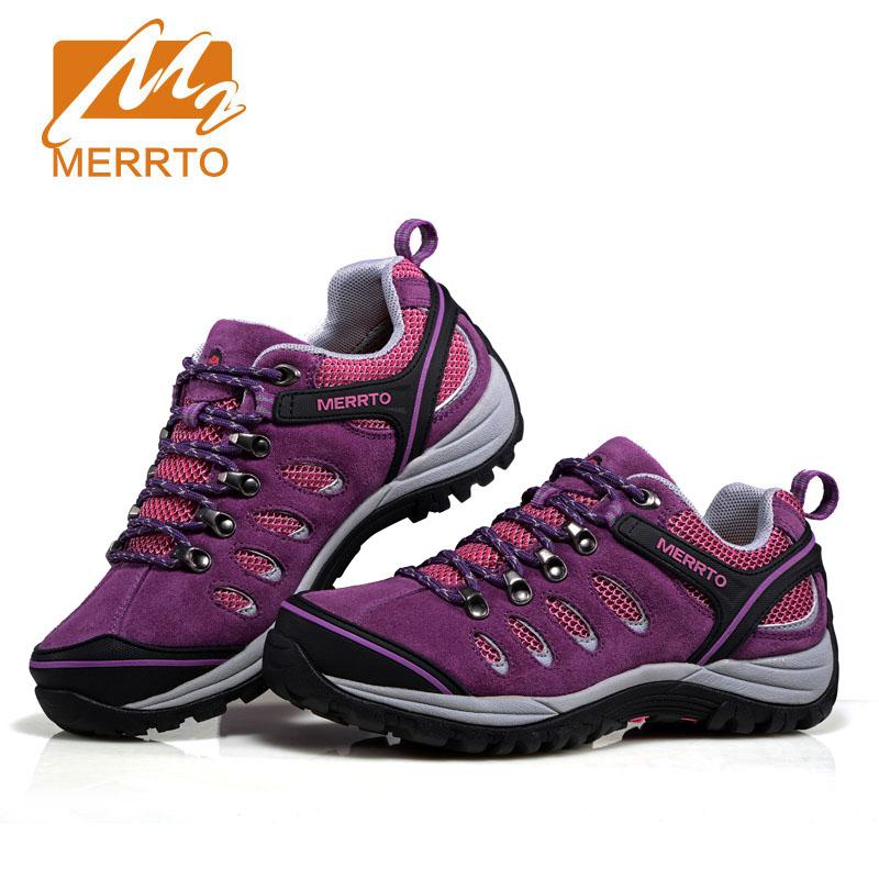MERRTO women's Waterproof Hiking Climbing Mountain Shoes Trekking Sneakers Suede Outdoor anti-skid wear-resistant camping shoes merrto men s outdoor cowhide hiking shoe multi fundtion waterproof anti skid walking sneakers wear resistance sport camping shoe