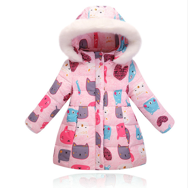 toddler girls winter coats 2017 medium long cartoon printed ...