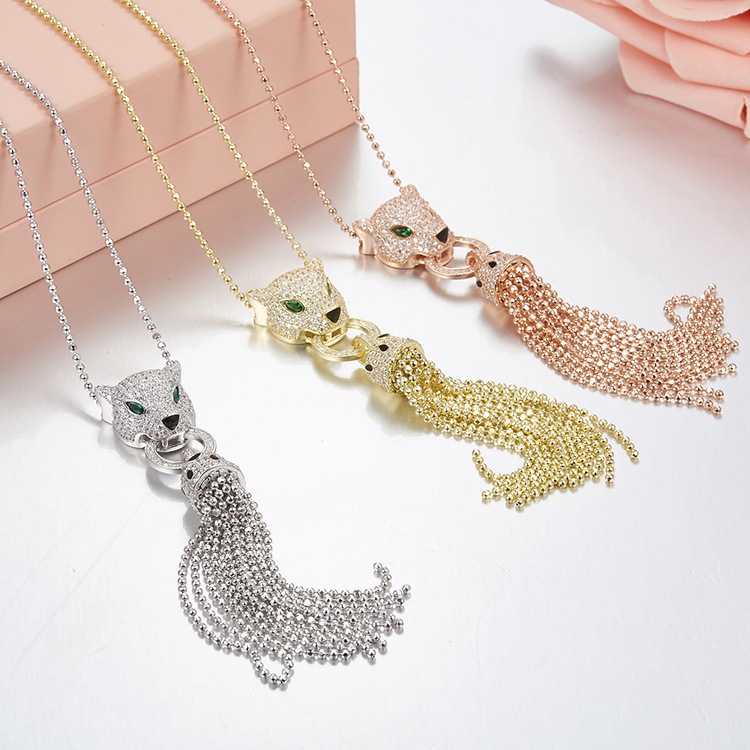100% 925 sterling silver necklace with micro zircon fashionable personality sweater chain leopard necklace for women a suit of fashionable zircon inlaid hollow out necklace and earrings for women