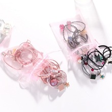 9Pcs/Set High Elastic Hair Bands Solid Star Bow Stretch Hair Ties For Women Girls Ponytail Holder Hair Ropes Hair Accessories akwzmly 20 pcs girls headband flower hair elastic bands scrunchy ponytail holder accessories bow animals pattern ropes ties