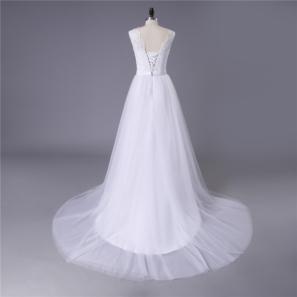 Lace Tulle O-neck A-line Boho Beach Wedding Dress
