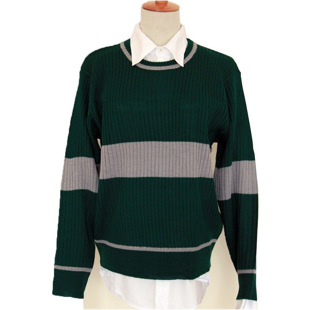 Harry Potter Slytherin Quidditch Knitted Striped Green Sweater