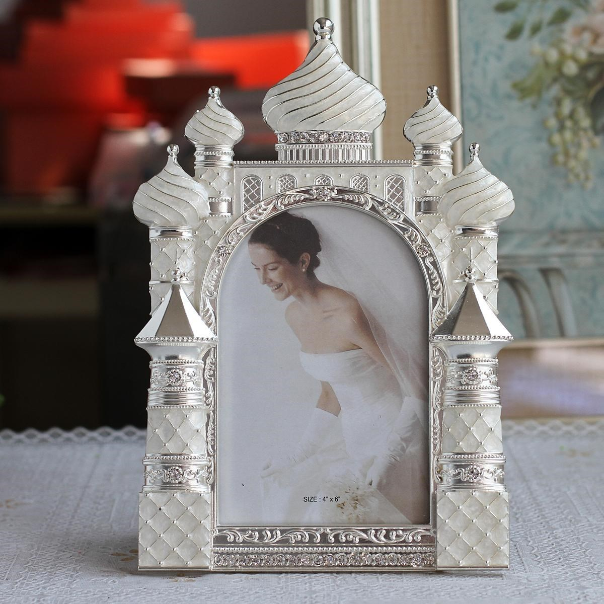 6 Inch Metal Photo Frame Castle Shape Room Home Ornament Wedding Party Decoration ElimElim 6 Inch Metal Photo Frame Castle Shape Room Home Ornament Wedding Party Decoration ElimElim