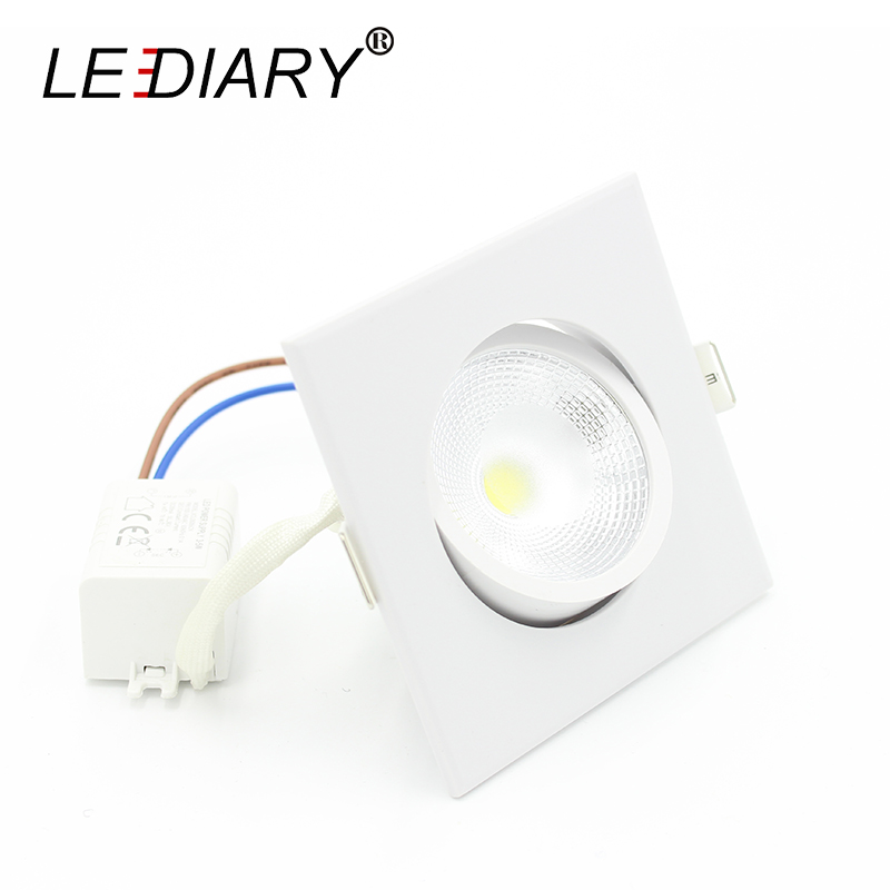 LEDIARY Square White LED COB Downlights Warm Cold White Super Bright 5W 100-240V 75mm Orificio de corte Lámpara de spot Iluminación de la sala