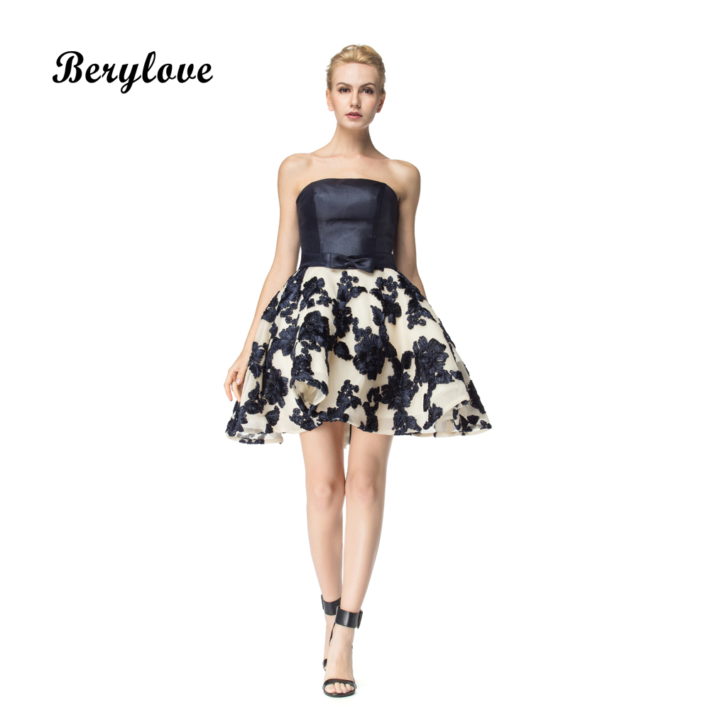 BeryLove Chic Ball Gown Short Prom Dresses 2018 Mini Navy Homecoming Gowns Short Cocktail Dresses Plus Size Short Party Dress