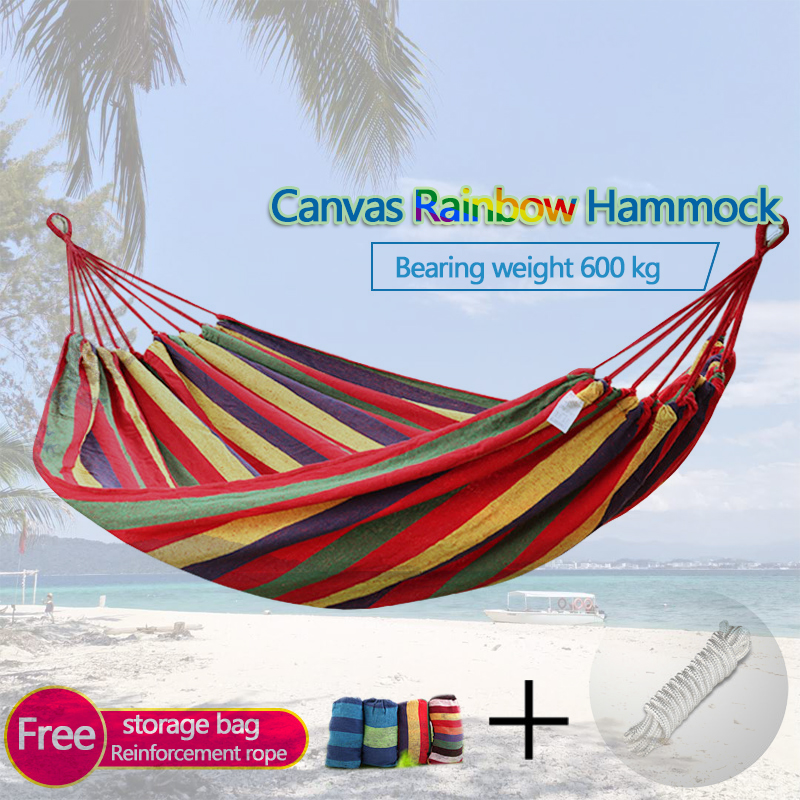 Single Person Garden Hammock Portable Travel Camping Hanging Hammock Swing Chair Thicken Outdoor Camping Hammock