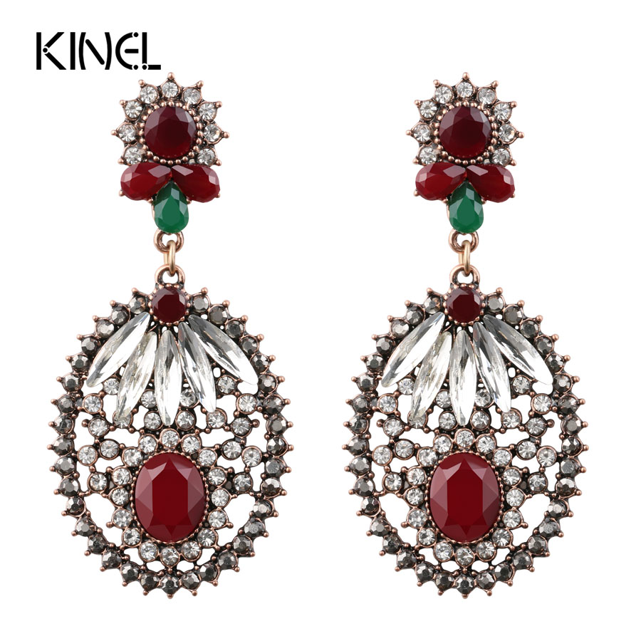 Luxury Big Earrings For Women Long Earrings Turkish Jewelry Ancient Gold Color Unique Crystal Party Gift Accessories