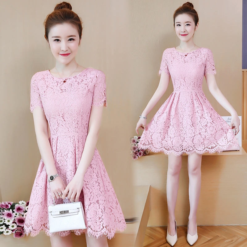 Summer Dress 2018 New Fashion Women Short Sleeve Lace Dresses Female Temperament A-line Vestidos Solid Color Casual Clothing