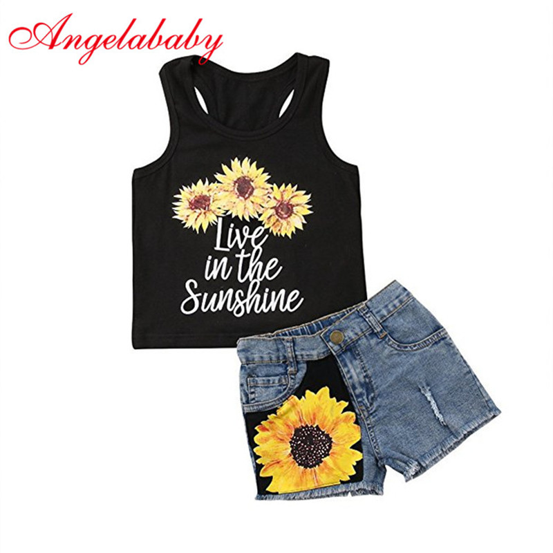 2018 Kids Baby Girls and Boys Clothing Sets Floral Sleeveless T-shirt Tops +Denim Jeans Pants Shorts Sunflower Summer Outfits 2pcs children kids baby girls outfit sets chiffon t shirt tops shorts sleeveless summer outfits suit cute girls clothes sets