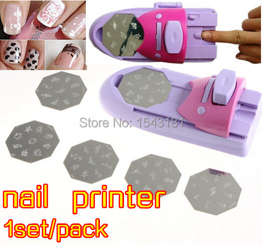 Free Shipping Nail Art Printer Pink And Purple Pattern Polish Printing Machine Stamping