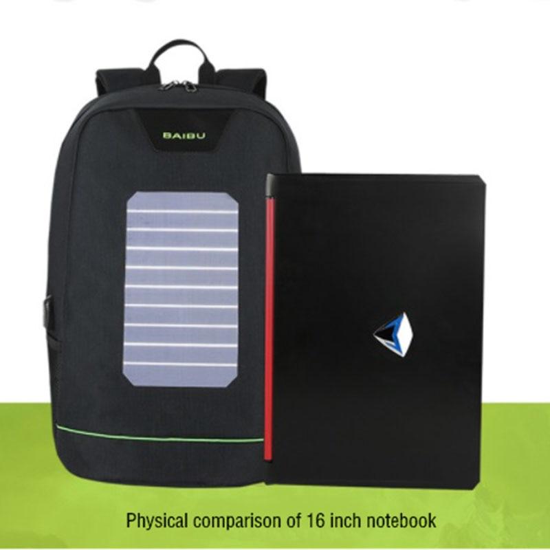 BAIBU énergie solaire hommes sac à dos USB charge 15.6 sacs à dos pour ordinateur portable hommes femmes Anti vol sac de voyage bande lumineuse sacs d'école - 3