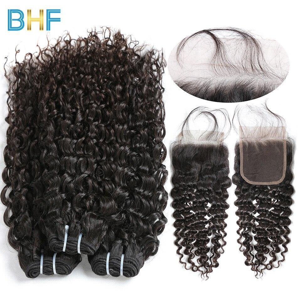 BHF Water Wave 3 Bundles With Closure Human Hair Bundles With Closure Free Three Middle Part Malaysian Virgin Hair With Closure