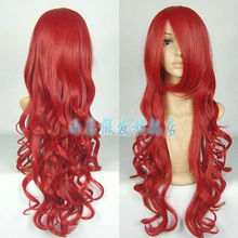 Wholesale heat resistant LY free shipping New Beautiful Dark Red Long Wavy Cosplay Wig Fashion Cos