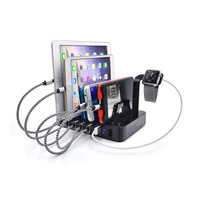 Multifunctional Mobile Phone Stand 6 port USB Charger Smart Quick Charging Station Desktop Holder For iPhone 8 iPad Android