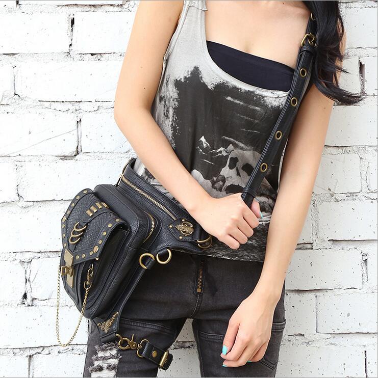 2016 Fashion Gothic Steampunk Skull Retro Rock bag Men Women Waist Bag Shoulder Bag Phone Case Holder women messenger mini Bag