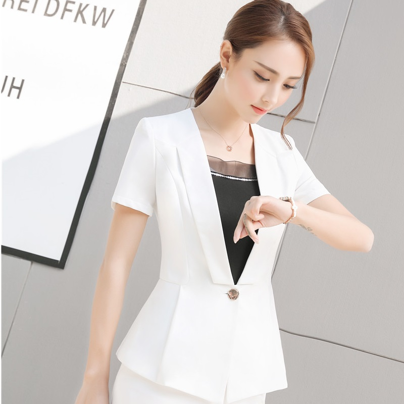 Plus Größe 4XL Sommer Kurzarm Formale OL Styles Blazer Mantel Für Damen  Büro Blazer Schönheit Salon Outwear Jacken Weiß in Plus Größe 4XL Sommer  Kurzarm ... e806830a57